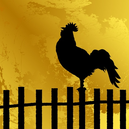 Abstract background with a cock silhouette on a fence, grunge art Stock Vector - 10859238