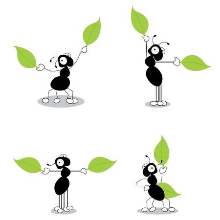 Directing traffic, conceptual cartoon action characters of ants dirrecting traffic with leaves. Isolated and grouped objects over white background. Vector