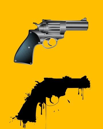 creative shot: Grunge revolver and reflection, abstract art Illustration