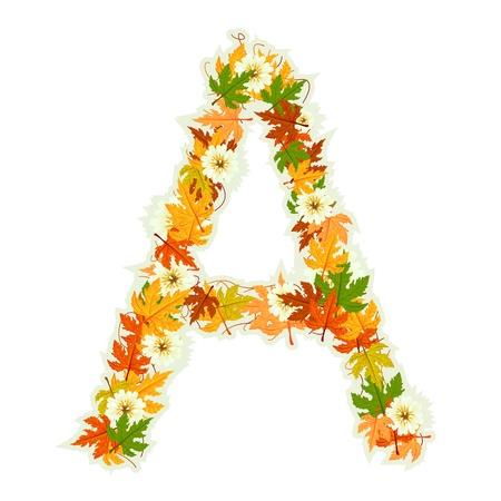 write letter: Pattern letter made from flowers and leaves