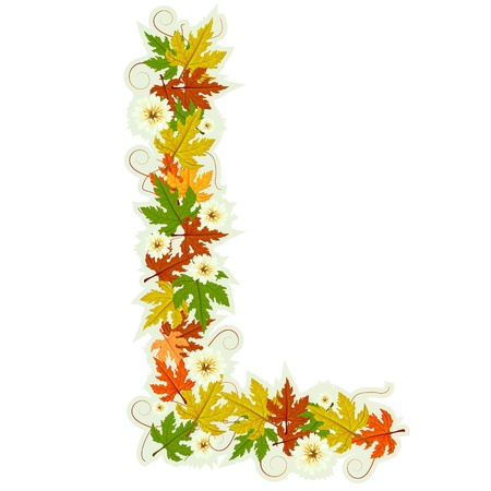 Pattern letter made from flowers and leaves Vector