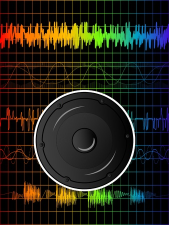 Abstract rainbow disco background with speaker Stock Vector - 10922465