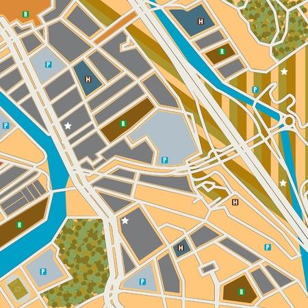 generic: Street map of a city, generic pattern Illustration