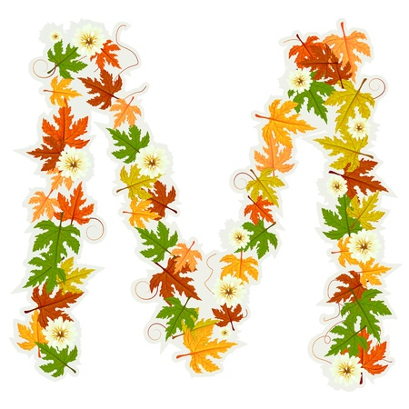 artistic flower: Pattern letter made from flowers and leaves