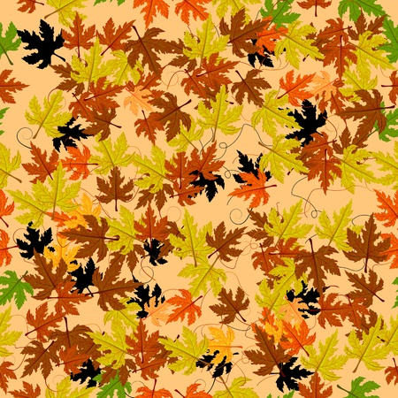saturate: Autumn leaves seamless pattern. Abstract background, easy to edit, copy paste.