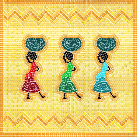 Mosaic of an african scene with women carrying food basket Vector