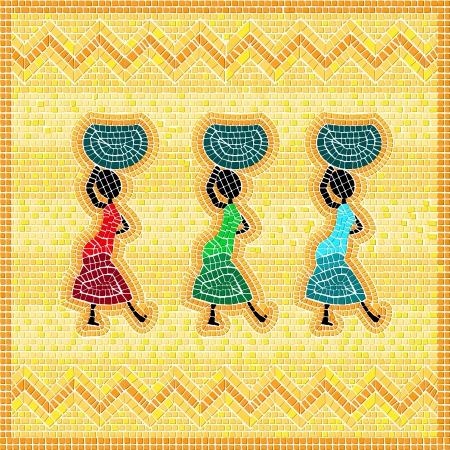 entwine: Mosaico di una scena africana con le donne che trasportano paniere alimentare Vettoriali