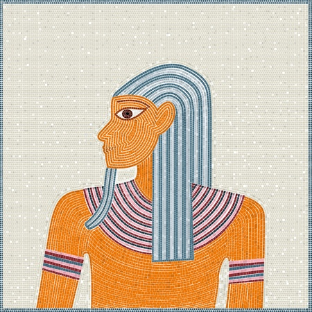 Mosaic of a Egyptian pharaoh, vintage illustration. No mesh or transparencies, global colors. Stock Vector - 10997847