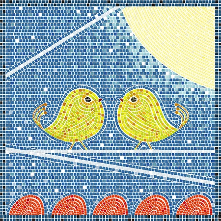 birds on a wire: Two bird on a wire in the moon light, mosaic background