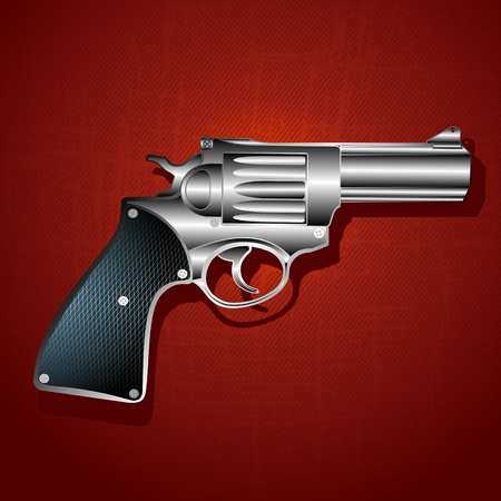 gun silhouette: Grunge hand gun background, abstract art illustration Illustration