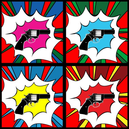 warhol: Pop art pistol, clip art illustration, icons