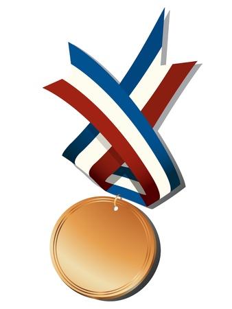 conquistando: Medalla de bronce y objetos realistas de la cinta, aislados sobre fondo blanco