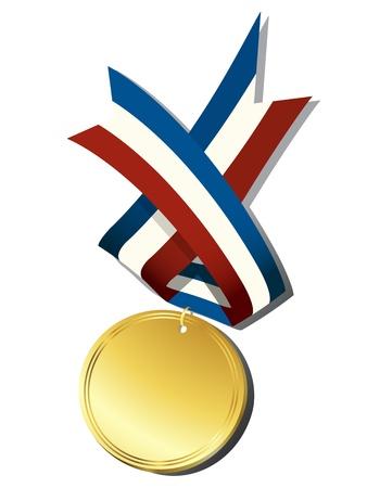 premio cinta: Medalla de oro realista y objetos de la cinta, aislados sobre fondo blanco Vectores