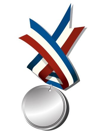 conquistando: Medalla de plata realista y objetos de la cinta, aislados sobre fondo blanco