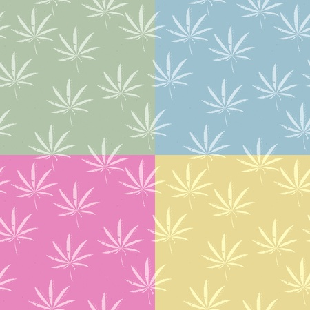 ganja: A seamless grunge cannabis, marijuana leaf background in pastel colors