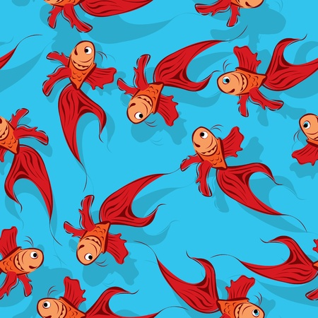 Happy red fish pattern, seamless background Vector