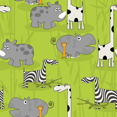 Cartoon animals tile pattern, seamless background design Vector