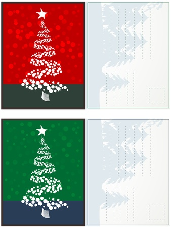 Christmas postcards set in colors with room for text Vector