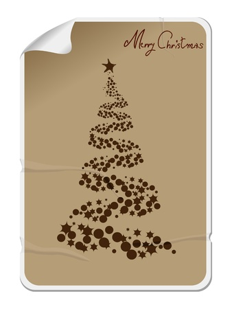 Merry Christmas sticker, label with a bended corner in card box tones, colors Vector