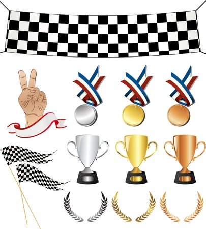Victory icons, sports related set.  Isolated and grouped objects over white background. No mesh or transparencies, easy to use, edit objects. Vector