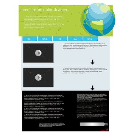 Video feature web page layout, abstract art Vector
