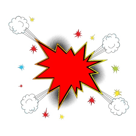 Pop art,  comic style explosion icon with room for text. Abstract art. Isolated and grouped objects Иллюстрация