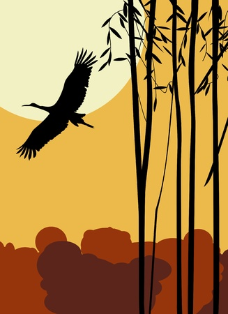 Flying stork romantic background, abstract art illustration Vector