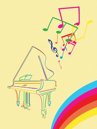 Classical grand piano sketch with musical notes and rainbow, abstract musical background  Vector