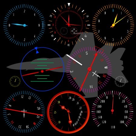 dashboard: Modern airplane dashboard over black background, isolated and grouped objects.