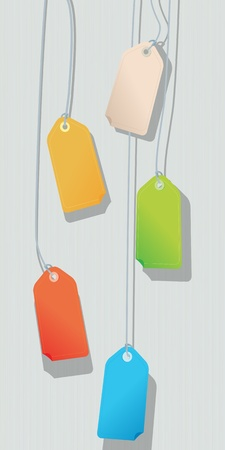 Color price tag collection over a striped background Vector
