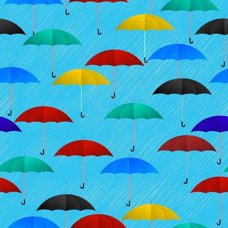 Seamless background pattern with colored umbrellas Vector