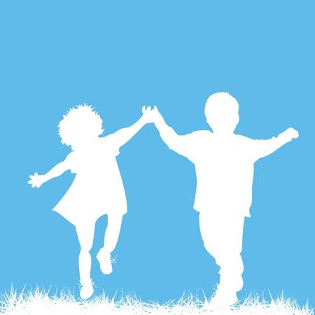 男の子と女の子を実行して、あなたのテキストのための部屋と抽象的なアートカードのシルエット  イラスト・ベクター素材