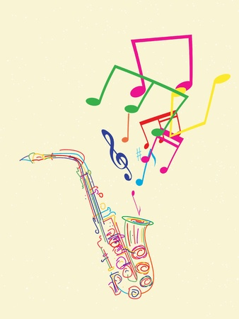 Saxophone with musical notes, abstract art Vector