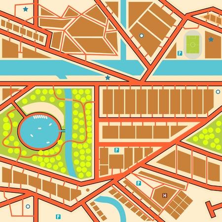 Editable seamless tile of a generic city map Vector
