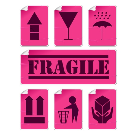 glued: Stickers collection with glue marks and corner, isolated and grouped objects against white background Illustration