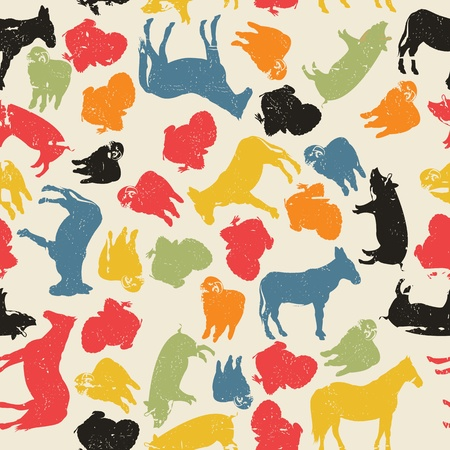 A grunge farm animals seamless pattern, abstract art Illustration