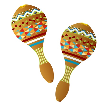 mexican culture: Two wooden maracas instruments on white background