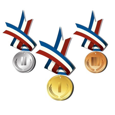 gold silver bronze: Medals over white background