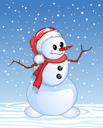 Happy snowman cartoon, Christmas and New Year celebration card. Vector
