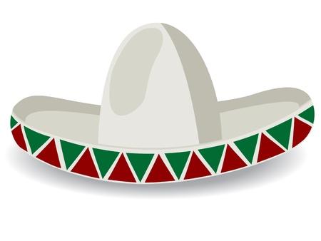 chapeau de paille: Sombrero, chapeau mexicain, isol� et objets group�s sur fond blanc Illustration