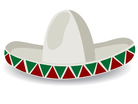 sombrero: Sombrero, Mexican Hat, geïsoleerd en gegroepeerde objecten op witte achtergrond