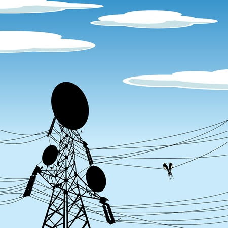 transmit: Two birds on a wire of a electric pole with antena