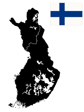 Detailed map of Finland with islands, rivers and lakes. Isolated objects over white background. Vector