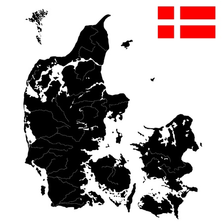 denmark: Detailed quality flag and map of Denmark with islands, rivers and lakes. Isolated objects over white background.