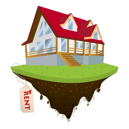 realestate: House for rent, conceptual real-estate icon on white background