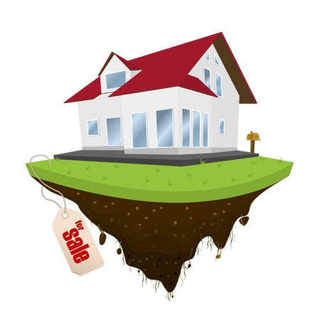 house for sale: House for sale, conceptual real-estate icon on white background