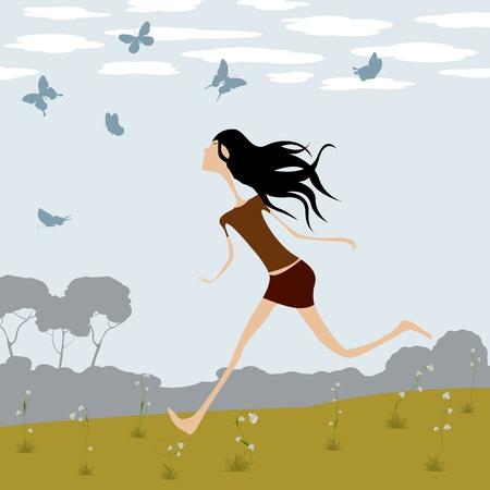 Fantasy illustration, little girl chasing butterflies Vector
