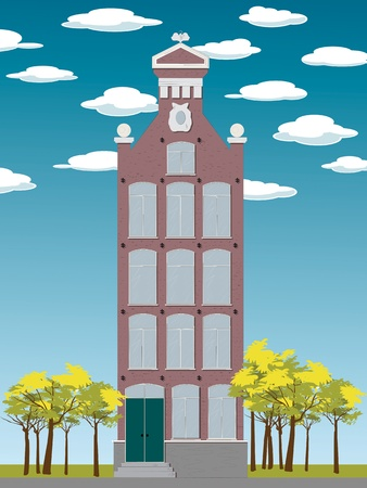 Old house Amsterdam style, graphic design Vector