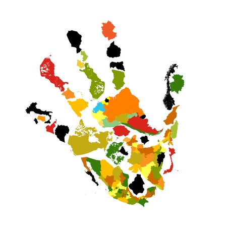 hand made: Hand print abstract background made of colored country and continent maps Stock Photo