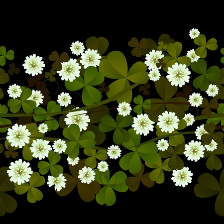 Seamless pattern with clover leaves and flowers over black Vector